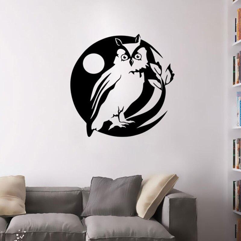 Black Owl On The Tree Pattern Vinyl Wall Stickers Art Wall Decals