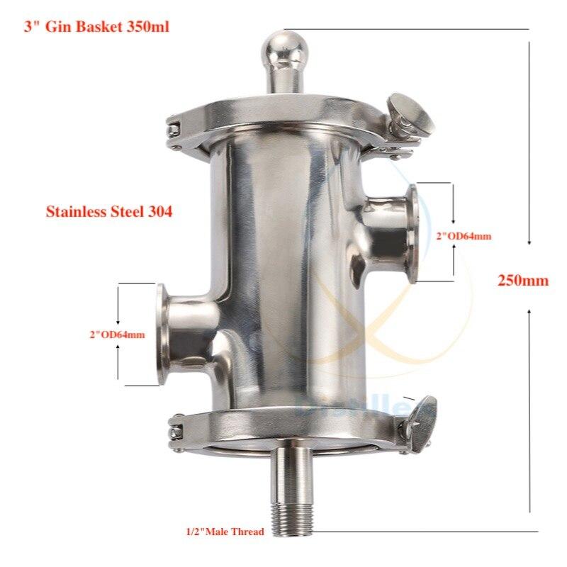 Tri-clamp 3 (OD91mm) Gin Panier, Arôme Panier volume 350 ml. Maison distillation. Distillex.