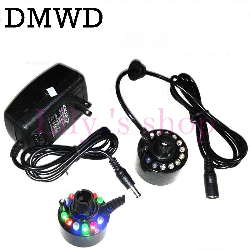 DMWD 12 LED Lamp Ultrasonic Air Humidifier Mist Maker 24V Fogger Water Fountain Pond Nebulizer Atomizer Head Vaporizer Diffuser
