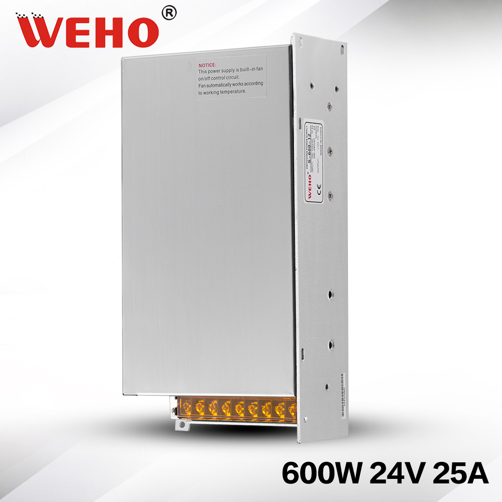 (S-600-24) low noise Industrial 24v 600w AC DC power supply 24v 25a 600w led power supply