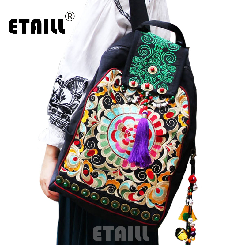 ETAILL Chinese Style Embroidered Canvas Backpacks with Tassel Vintage Fashion Women Travel Back Bag Schoolbag Rucksack MochilaETAILL Chinese Style Embroidered Canvas Backpacks with Tassel Vintage Fashion Women Travel Back Bag Schoolbag Rucksack Mochila