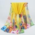 160*50cm 2017 Hot Sale Print Silk Scarf Chiffon Scarves Women Wrap Sarong Sunscreen Beach Cover Up Long Cape Female FD042