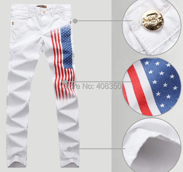 ФОТО 2016 Quality Men's White Skinny Jean Pant Fashion USA Flag Print Skulls Brand Casual Straight Pencil Pant, Cool Night Club Jeans