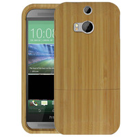 Genuine Natural Bamboo Wooden Wood Case Cover Skin For HTC ONE M8 Suitable Protect Phone Wholesale