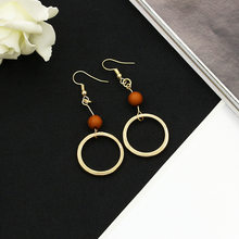 Round Wood Beads Drop Earrings Gold Color Circle Earring Hollow Long Statement Charm Dangle Eardrop Woman Girls Fashion Jewelry(China)