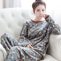 Autumn and winter thickening coral fleece sleepwear o-neck long-sleeve flannel lounge set casual