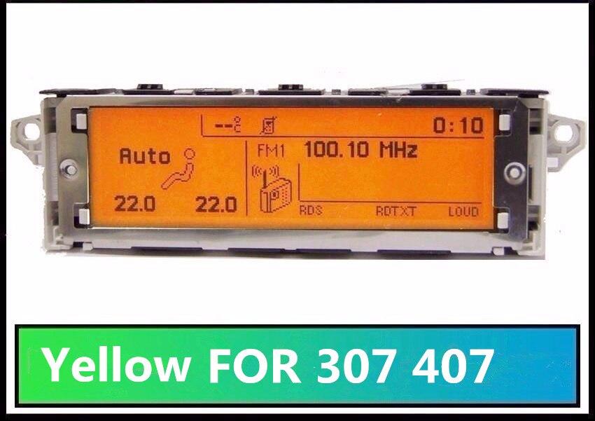 Écran Support USB + Double-zone Air Bluetooth Affichage Moniteur Jaune 12 Broches pour Peugeot 307 407 408 citroen C4 C5