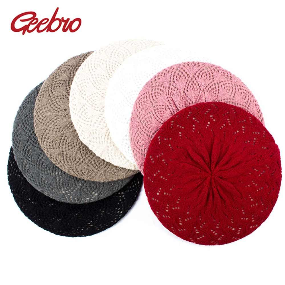 7c39ca5bf8e16 Geebro Women s Plain Color Knitted Breathable Beret Hat Casual Thin Acrylic  Berets for Women Ladies French