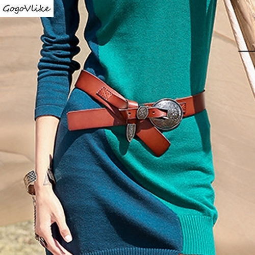 3 Colors National Style Leather Cummerbund Women 2019 Dress Accessories Wide Waist Belts Punk Metal Buckle Waist Belt SA079S50