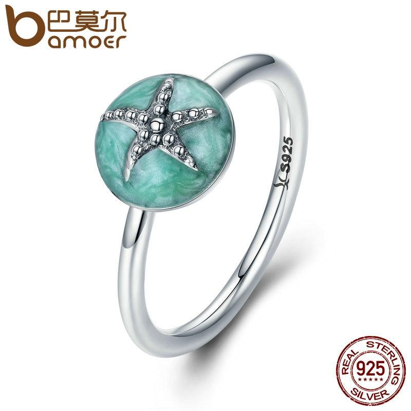 BAMOER Authentische 100% 925 Sterling Silber Fantasie Starfish Hochzeit Band-Finger-Ring Frauen Sterling Silber Schmuck S925 SCR202