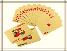 Certified Pure 24 K Carat Novelty Gold Foil Plated Poker Playing Cards w/ 52 Cards & 2 Jokers Gift Table Games(China)