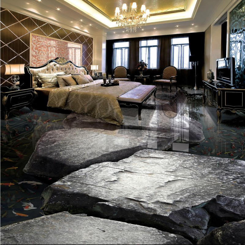 Free shipping photo Stone flowing water carp living room bathroom 3d flooring living room bedroom wallpaper mural flooring