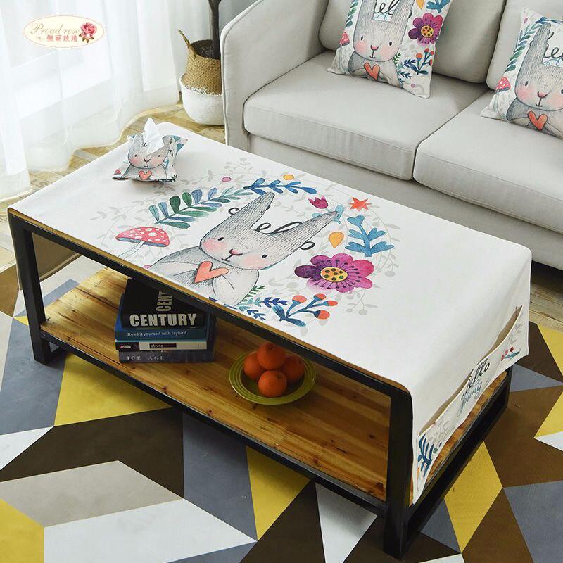 Fier Rose Coton Linge Rectangulaire Nappe Meuble TÉLÉ Table à Thé Serviette De Couverture avec Sac De Stockage de Bande Dessinée Table Tissu
