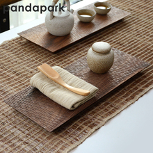 цена на Pandapark Chinese Style Eco-friendly Wooden Tea Tray Natural Hand Carving Kungfu Tea Board Puer Tea Trays Teaboards PPM006