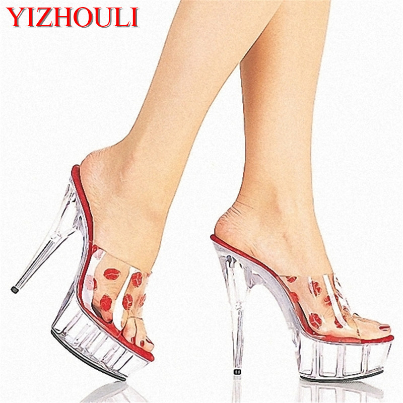 15cm Open Toe Shoe Gladiator Style Sandals Women's Shoes 6 Inch High Heel Slippers Women Summer Crystal Sandals Lips Print Shoes professional customize 15cm ultra high heels sandals platform bride 6 inch wedding shoe women s slippers sexy lips crystal shoes