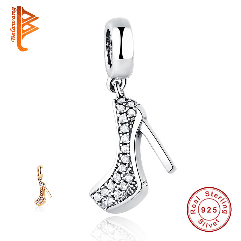Luxury 925 Sterling Silver High Heels Shoe Pendant Charm Fit Original Pandora Charm Bracelet With Cubic Zirconia DIY Jewelry