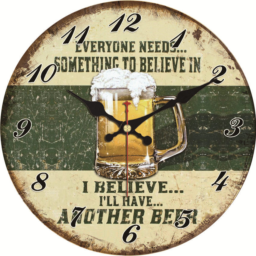 WONZOM Vintage Wall Clock Beer Design Relogio De Parede Large Silent For Living Room Winebowl Saat Home Decor Kitchen Watch Wall