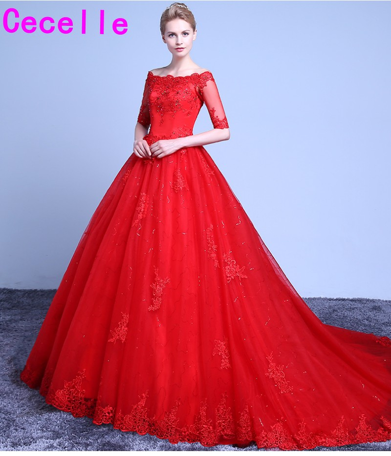 Red And White Wedding Dresses With Sleeves: Red Ball Gown Wedding Dresses Off The Shoulder Half