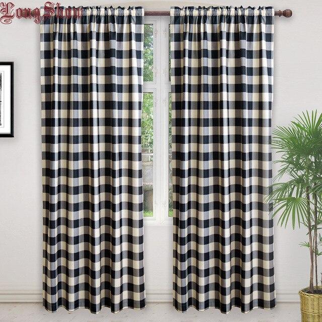 Moderne Noir Géométrique Plaid Design Super Lisse épais Rideaux En Peluche  Pour Salon Chambre