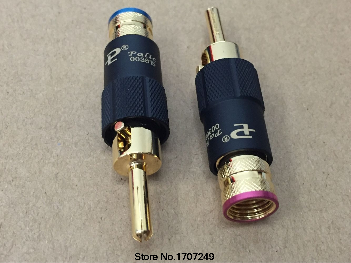 Free Shipping 4pcs PS-109 Self locking type Copper 24K Gold Plated Pailiccs banana plug Audio Connector male adapter hot 4pcs copper gold plated tuning fork banana y spade plug adapter av audio terminals connectors for speaker cable power