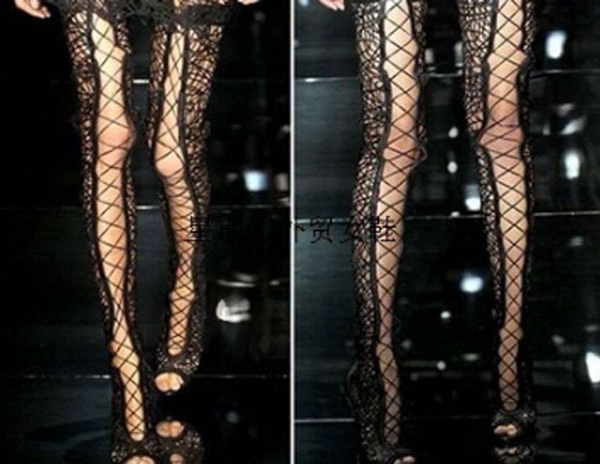 new arrival woman sexy peep toe cut-outs ove knee woman summer boots lace up thigh high boots