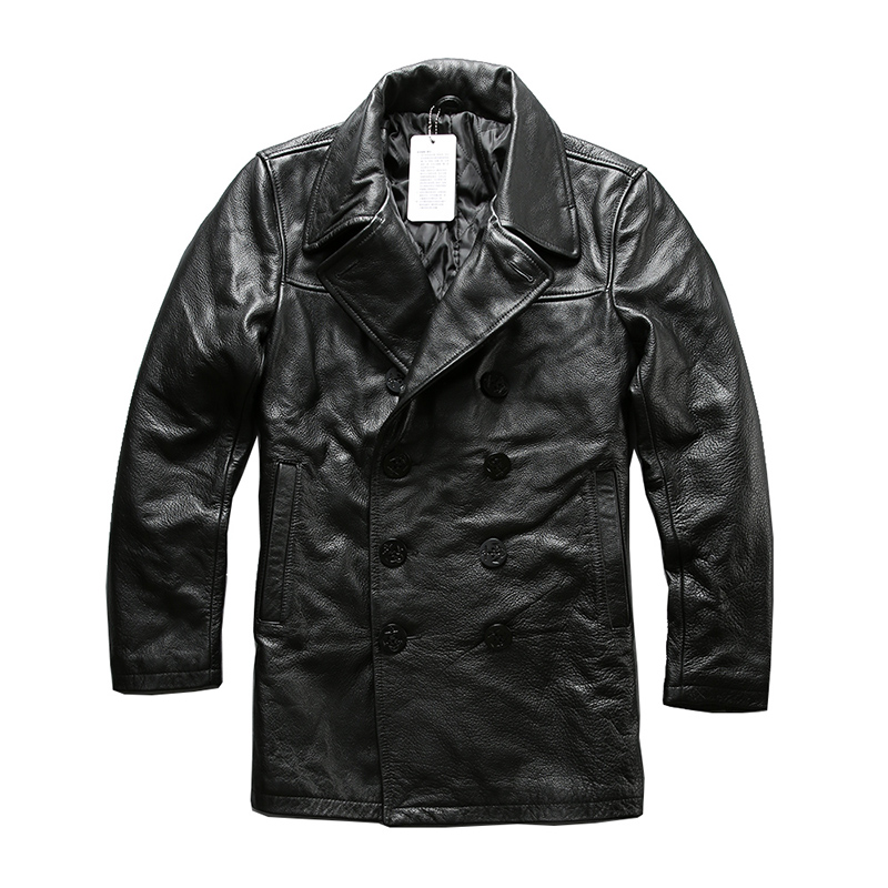 Read Description! Asian Size Mans Genuine Cow Leather Winter Jacket Men's Classic Cowhide Leather Pea Coat A1803