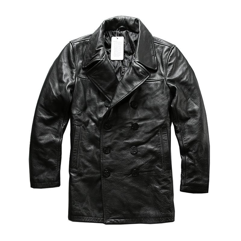 Read Description! Asian Size Mans Genuine Cow Leather Winter Jacket Men's Classic Cowhide Leather Pea Coat A1803