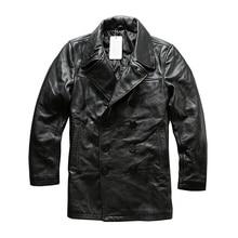 Прочитайте описание! Азиатский размер Man из натуральной коровьей кожи зимняя куртка Мужская Классический натуральной кожи бушлат A1803
