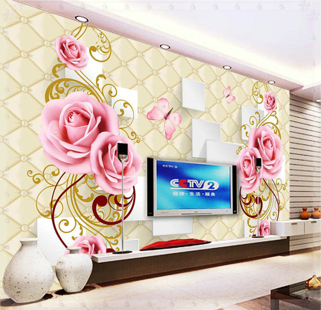 Beautiful Flowers Design Of Large Modern New Special Decorate Household Wallpaper Wall Paintings Cold Water