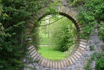 Fondos de vinilo de fotografía de paisaje de puerta redonda de arco de parque de jardinería Laeacco fondos de cámara personalizados accesorios para estudio fotográfico