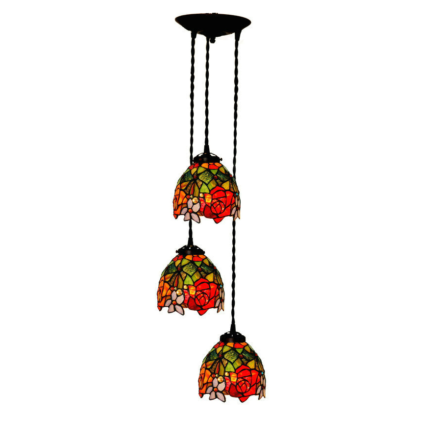 Scandinavian style 3 LED Hanging-lamps Stained Glass,Art Deco Rose Flower Wedding Marriage Room Pendant Lamp Chandelier Lighting deco glass ваза для цветов стрекоза d04033 0240 0306al