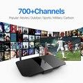 Mais novo Android Caixa De TV com 700 Canais de Iptv Livre para Árabe Europa Itália Quad Core 1G/8G 2.4 Ghz WiFi H. 265 Inteligente Media Player