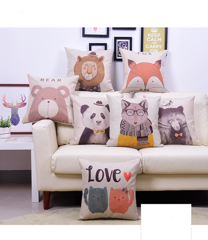 1PC Modern Minimalist Linen Cotton Cushion With Pillow Core Mr. Panda Home Decorative Cushion Romantic Gift OU 034