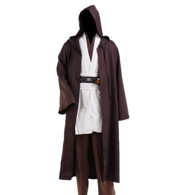 105498a107 Jedi Cloak Cosplay Costumes Adult Men Hooded Robe Cloak Cape Costume  Halloween Christmas Dress Black Brown-in Anime Costumes from Novelty   Special  Use on ...
