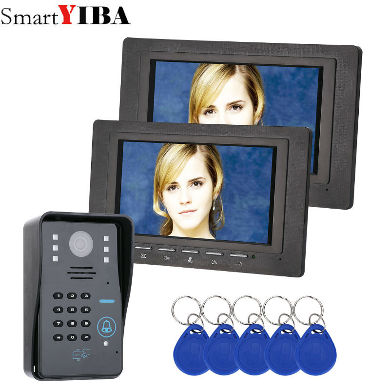 SmartYIBA 2*7inch monitor black RFID Password Video Door Phone Intercom Doorbell With IR Camera Access Control System 7 inch password id card video door phone home access control system wired video intercome door bell
