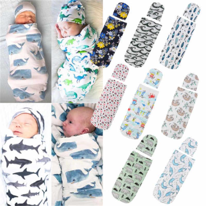 2018 Мода для новорожденных для маленьких мальчиков девочек спальный мешок Симпатичные для маленьких мальчиков девочек Акула печати пеленать Одеяло спать пеленать Обёрточная бумага + шляпа 2 шт.