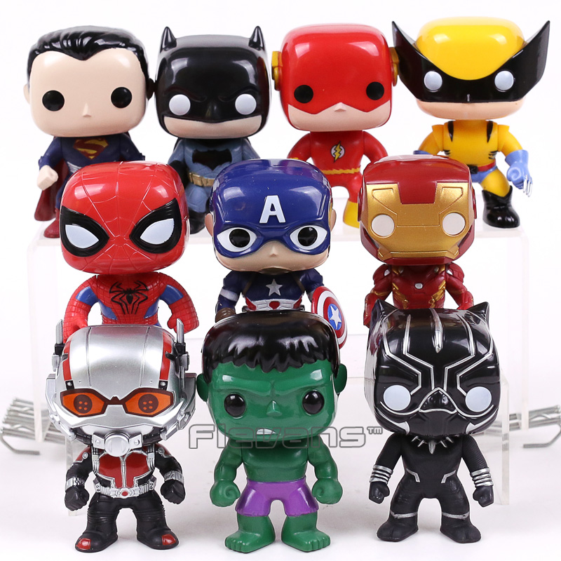 Super Heroes Toys Figures 10pcs/set Superman Batman Spiderman Captain America Iron Man Hulk Logan Black Panther The Flash liss david black panther the man without fear volume 1
