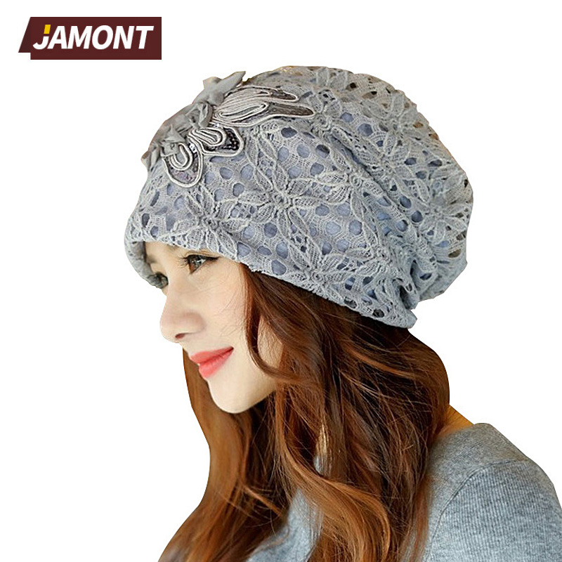 [JAMONT] New Lace Flower Beanies Women Slouch Skullies Stretch Beanie Hat Q3360 [jamont] love skullies women bandanas hip hop slouch beanie hats soft stretch beanies q3353