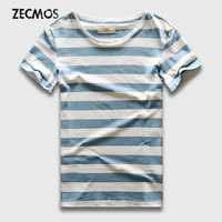 Stripe T Shirt For Men Blue Striped Top Tees Cotton Slim Fit T Shirt Short Sleeve