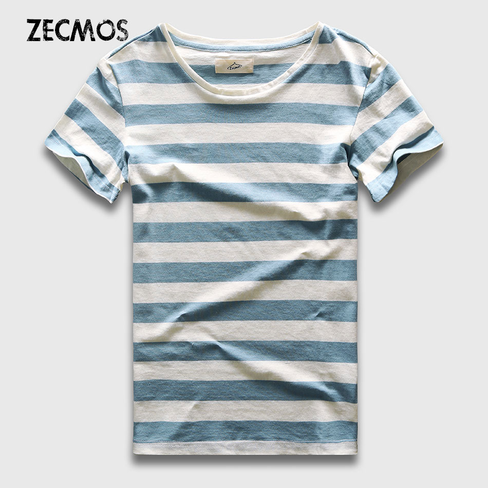 Zecmos New Men camiseta a rayas Moda O Cuello de manga corta Slim Fit Blue Striped T Shirt Hombre