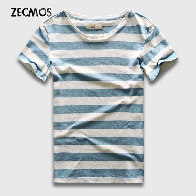 20647949b0 Zecmos New Men Stripe T-Shirt Fashion O Neck Short Sleeved Slim Fit Blue  Striped T Shirt Man