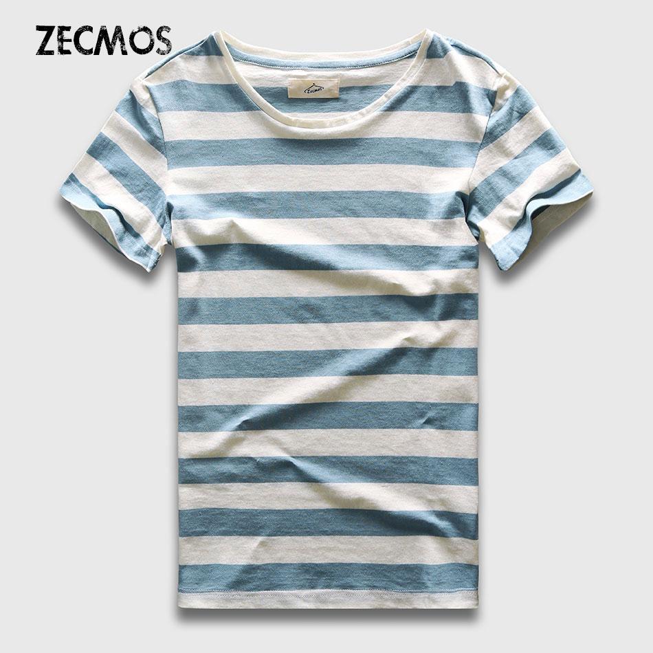 Zecmos New Men Stripe T-Shirt Fashion O s