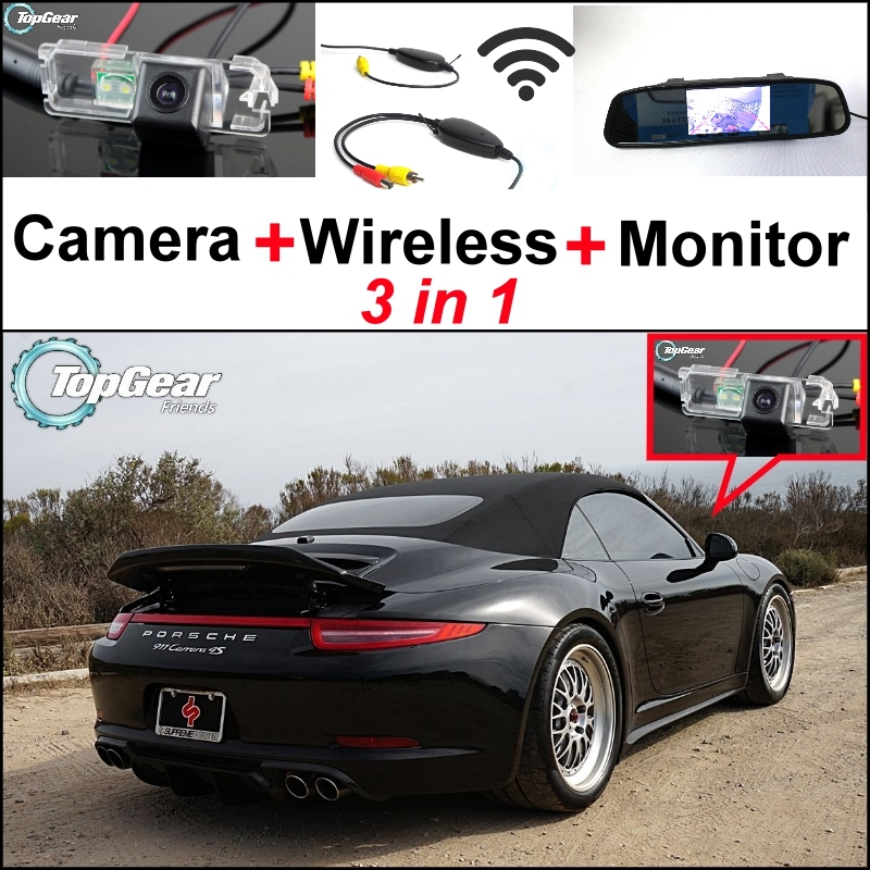 3 in1 Special Wifi Camera + Wireless Receiver + Mirror Monitor Parking System For Porsche 996 997 991 Carrera 911 Turbo GT2 GT3 цена