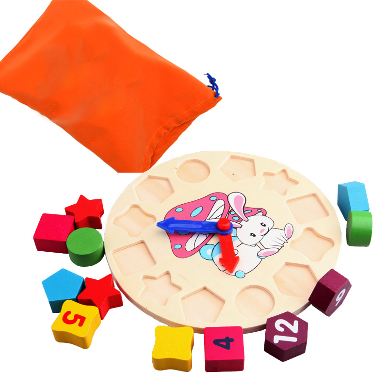 BOHS Early Educational Wooden Montessori Geometry Shape Sorting Number Color Learning Clock  Teaching Toys Sets,with Storage Bag new original fk 3100 fuser unit for kyocera fs3900dn 2000d 4000 oem 302f993079