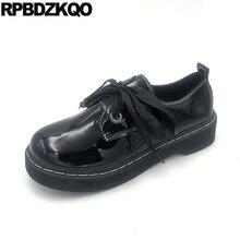 Zapatos Oxford Vintage de charol de Escuela Japonesa para mujer, 2019, negro, chino, de tacón bajo, con cordones, para mujer, punta redonda, baratos