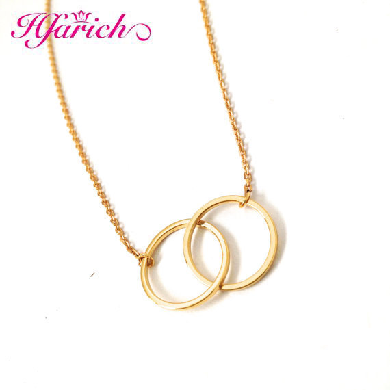 Hfarich Circle Pendant Necklace Infinity Double Circles Necklace for Girls Interlocking Circles Chian Couple Necklace Best Gifts