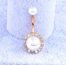 Sexy piercing do pupíku s perlami z chirurgické oceli
