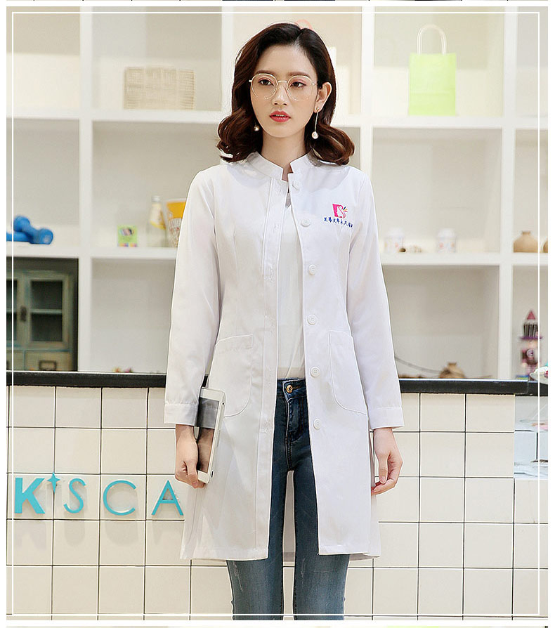 Women's Winter Stand Collar Long Sleeve Sleeve Nurse Uniform Dental Clinic Doctor's Uniform Slim Fit Doctor White Coat