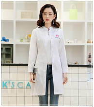 Womens Winter Stand Collar Long sleeve nurse uniform dental clinic doctors slim fit doctor white coat