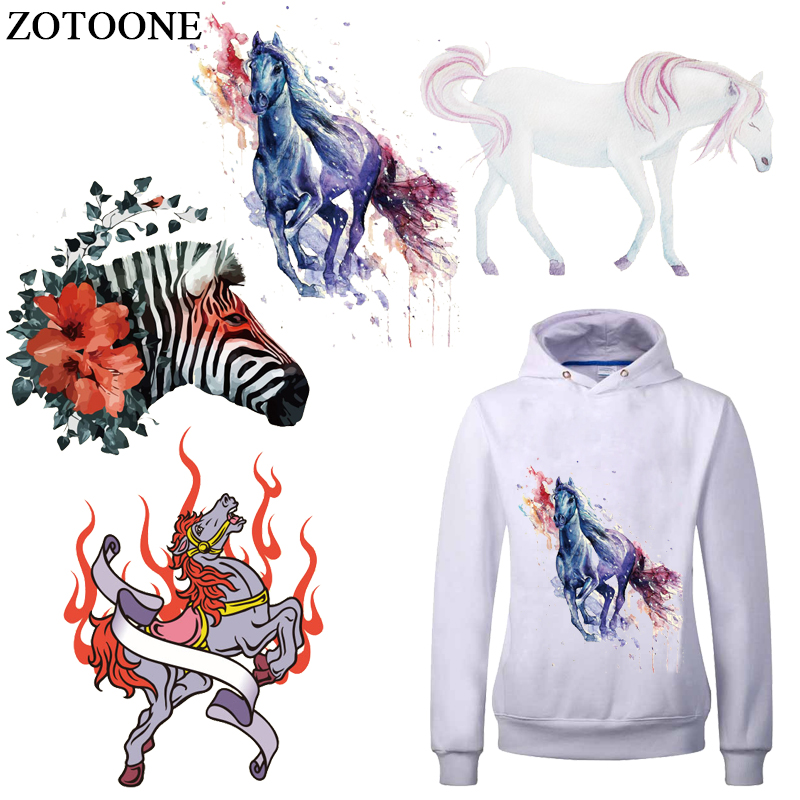 ZOTOONE Heat Transfer Iron Stickers Lovely Horse Clothes Patches for Kids Animal Patch DIY Accessory A-level Washable Appliques